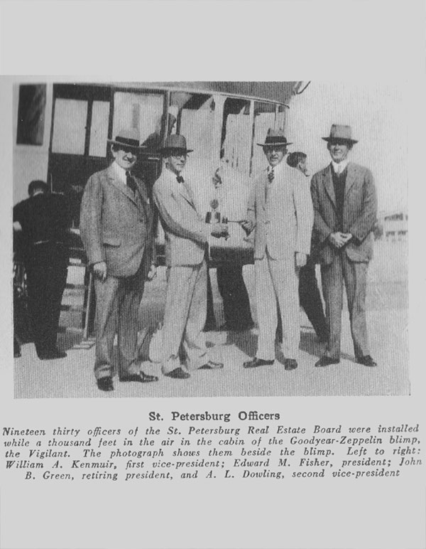 1930 local  association officers were installed in the cabin of the Goodyear-Zeppelin blimp!